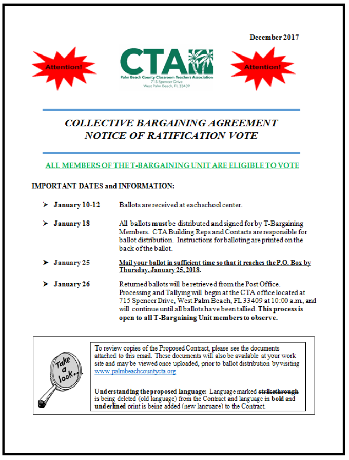 Cba Ratification Timeline And Agreement Summary Palm Beach County Cta