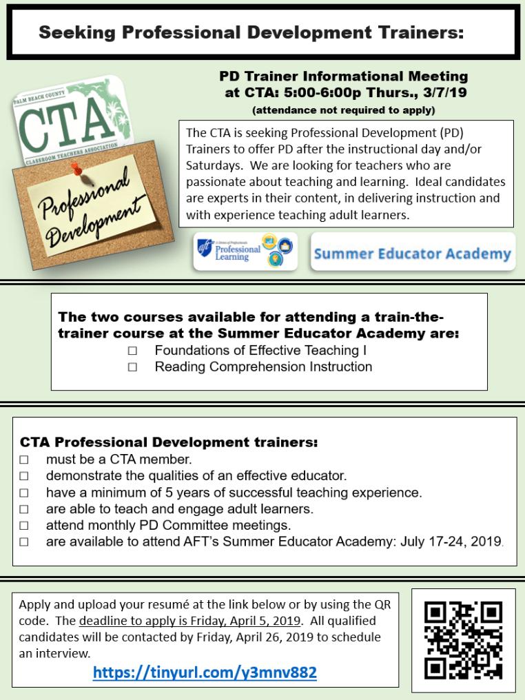 Cta Holiday Schedule 2020 2019 2020 CTA Professional Development Trainer Application – Palm