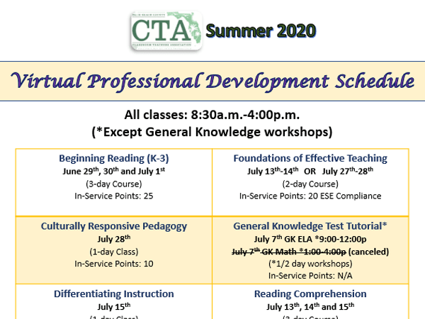 CTA 2020 Summer PD Virtual Courses