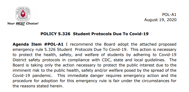 Policy 5.326 – Student Protocols due to COVID-19 (8/14/2020)