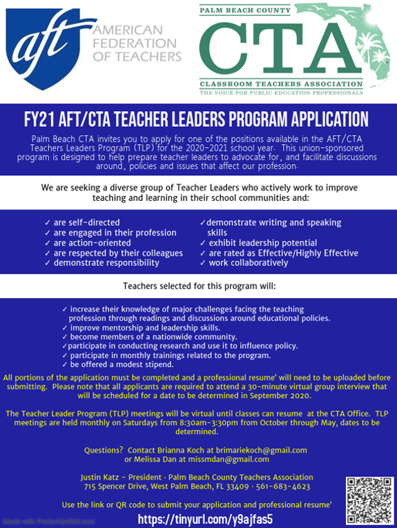 FY21 AFT/CTA Teacher Leader Program Application