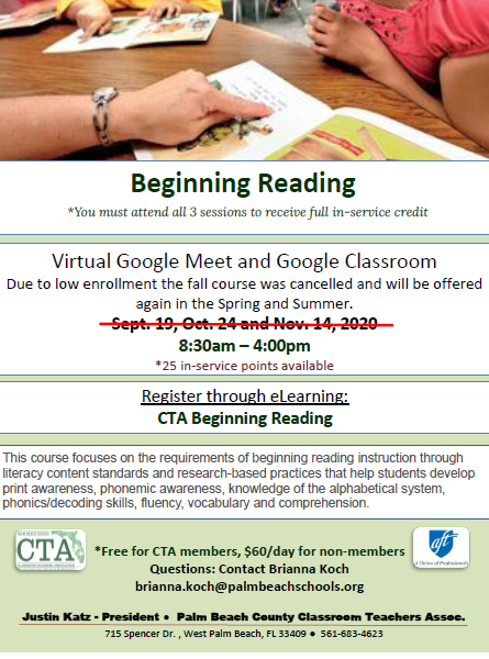 CTA PD – Fall 2020 – Beginning Reading ***CANCELLED***