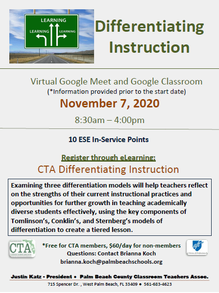 CTA PD – Fall 2020 – Differentiating Instruction