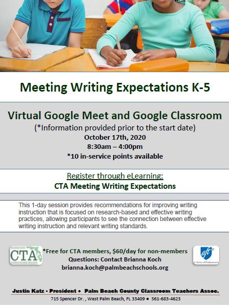 CTA PD – Fall 2020 – Meeting Writing Expectations K-5
