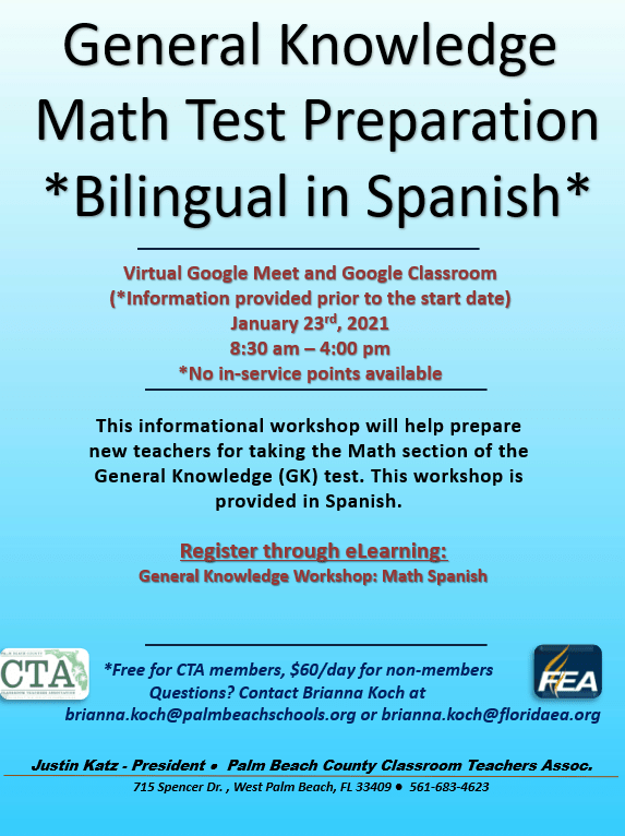 CTA PD – General Knowledge MATH Test Prep (in Spanish)