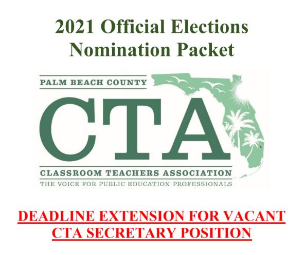 2021 CTA Elections DEADLINE EXTENSION for Secretary Positon