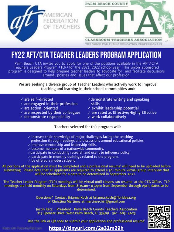 2021-2022 AFT/CTA Teacher Leader Program Application