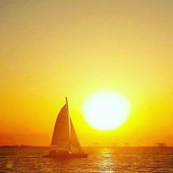 Catamaran at sunset