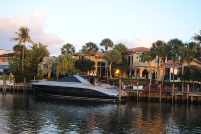 House on Intracoastal with boat in front