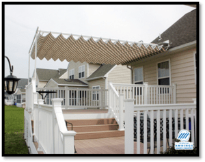 Have a custom retractable canopy patio cover added to your patio or deck. Frame is made from extruded aluminum and powder coated.