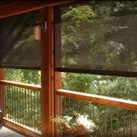 Add retractable motorized screens to porch or veranda to block sun glare, heat, harmful UV rays, and insects. Our Clear View Solar Screens are great for restaurant outdoor eating areas, sunrooms, large picture windows, and outdoor living spaces.
