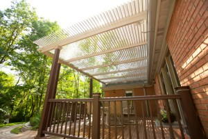 Shaded backyards offer relief from the sun, but not protection from rain. A traditional patio cover that protects your deck from rain, permanently blocks sunlight into home.  The Louvered Patio Cover lets light back in.