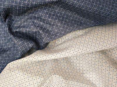 Ткань лёен белый темно-синий ромбики купить недорого в Украине