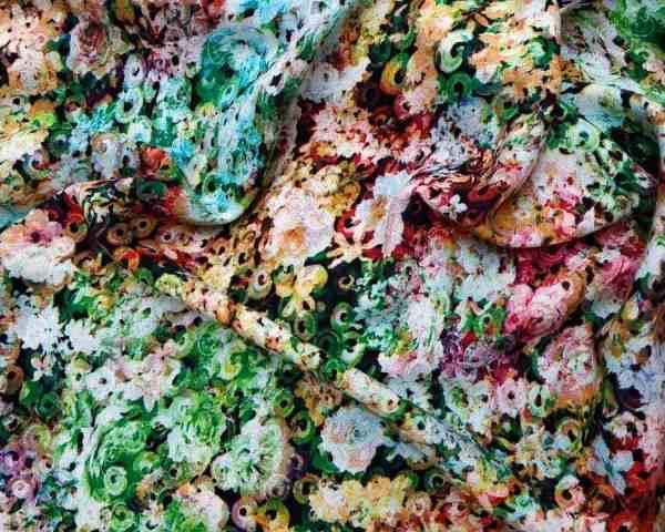 Ткань Штапель принт цветы зелёные купить оптом и в розницу недорого в Украине