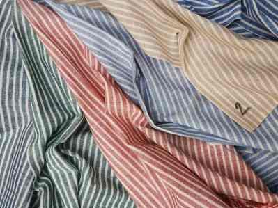 Ткань лен полоска узкая двухцветная купить в Украине