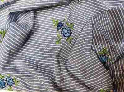 Ткань лен полоска с вышивкой купить оптом и в розницу недорого