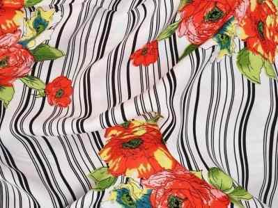 Ткань штапель полоска с цветами купить оптом и в розницу в Украине