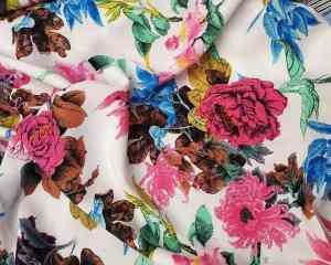 Ткань штапель пионы цветы фуксия купить оптом и врозницу недорого в Украине