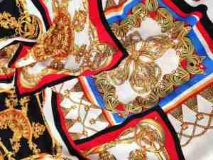 Ткань штапель платочный принт красный купить оптом и в розницу в Украине