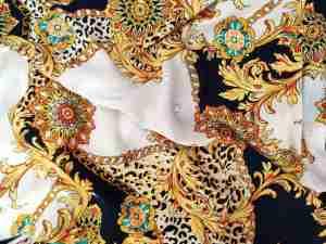 Ткань штапель принт версаче черный купить оптом и в розницу недорого в Украине