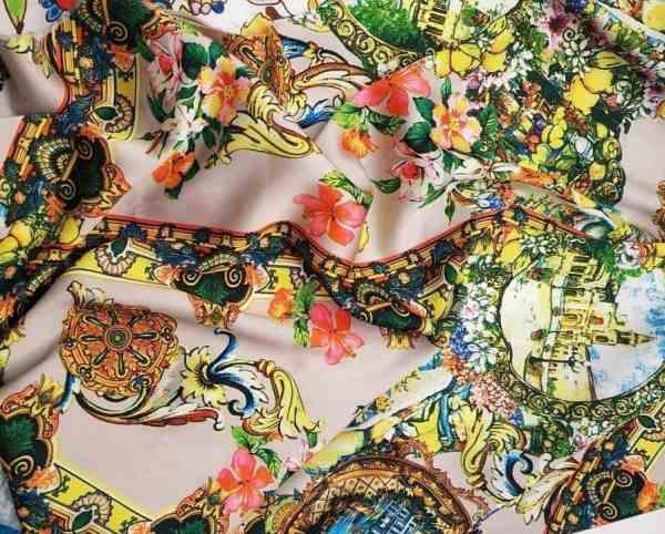 Ткань шелк-армани орнамент купить оптом и в розницу в Украине
