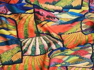 Ткань шелк армани узоры зеленые купить оптом и врозницу в Украине