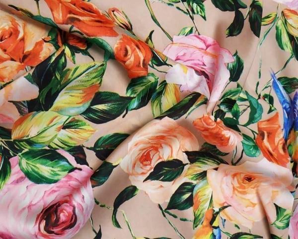 Ткань шелк-армани розы бежевые купить оптом и в розницу в Украине