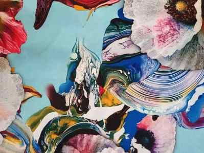 Ткань шелк армани цветочный принт на голубом фоне купить в Украине