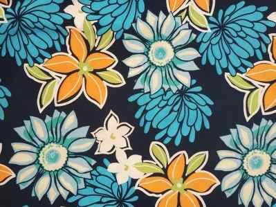 Ткань суперсофт цветочный принт синий-оранж купить оптом в Украине
