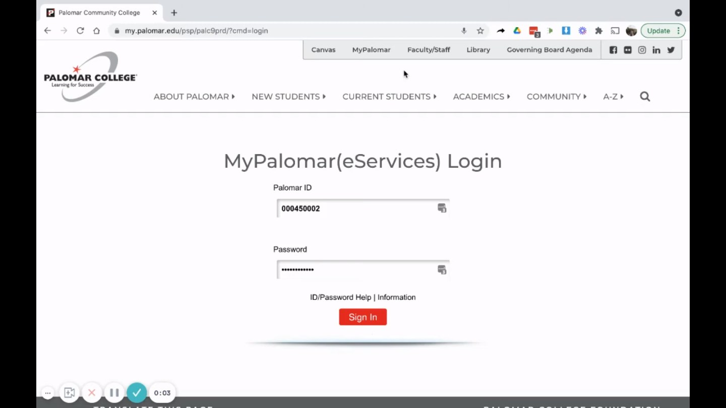How to Log into MyPalomar