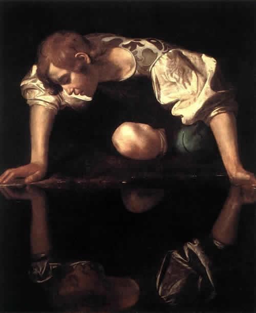 Narcisista. Nella foto è rappresentato il Narciso di Caravaggio.