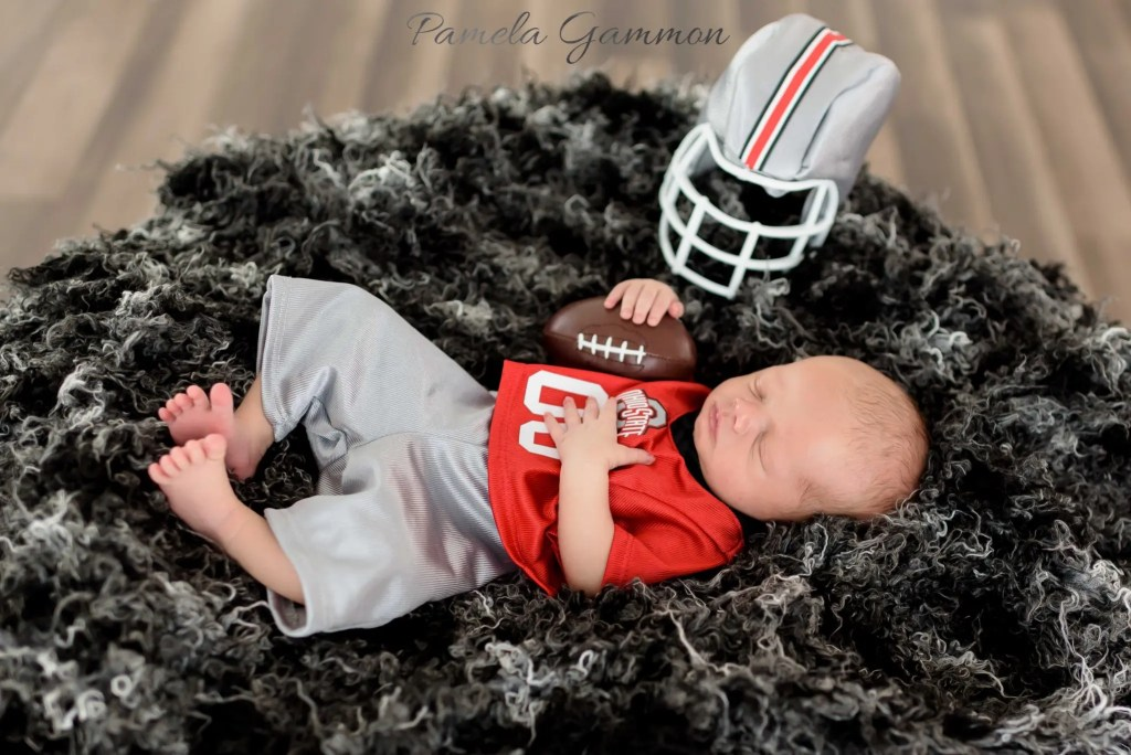 Football Player Baby Session | Newborn Football Player Photography | OSU Baby Photography | Baby Football Photos | Newborn Imagination Session | Pamela Gammon Photography | OSU Baby Photographer