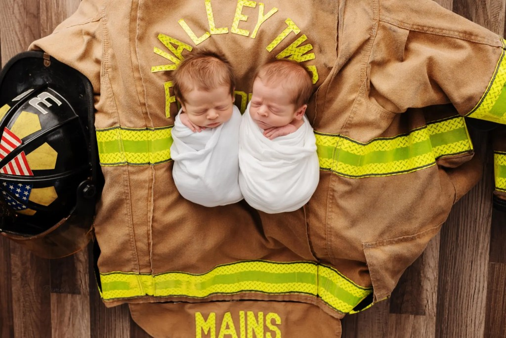 Newborn Twin Firefighter Photography