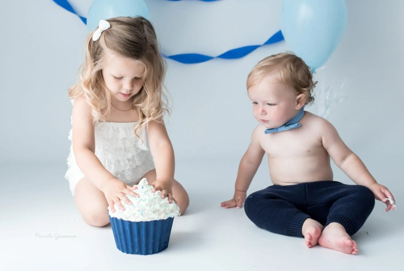 Cake Smash with Sibling Photos
