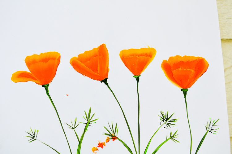 How to Paint California poppies in acrylics. An easy beginner tutorial and one stroke lesson.