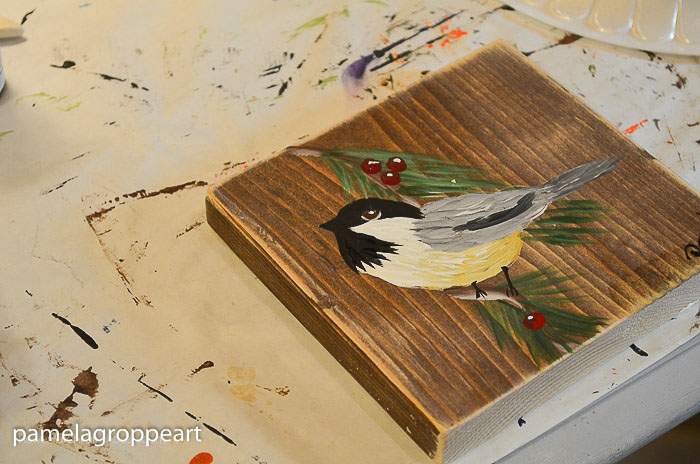 chickadee painted on small wood square