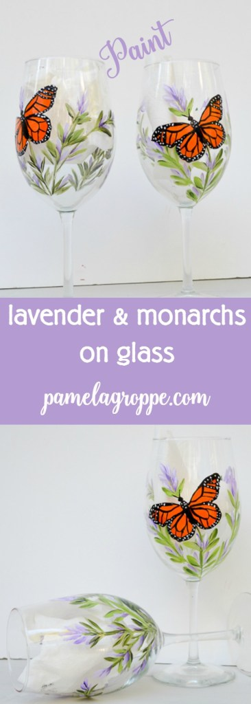 Learn to paint monarchs and lavender on glass. An easy to learn technique that even beginners can do successfully!