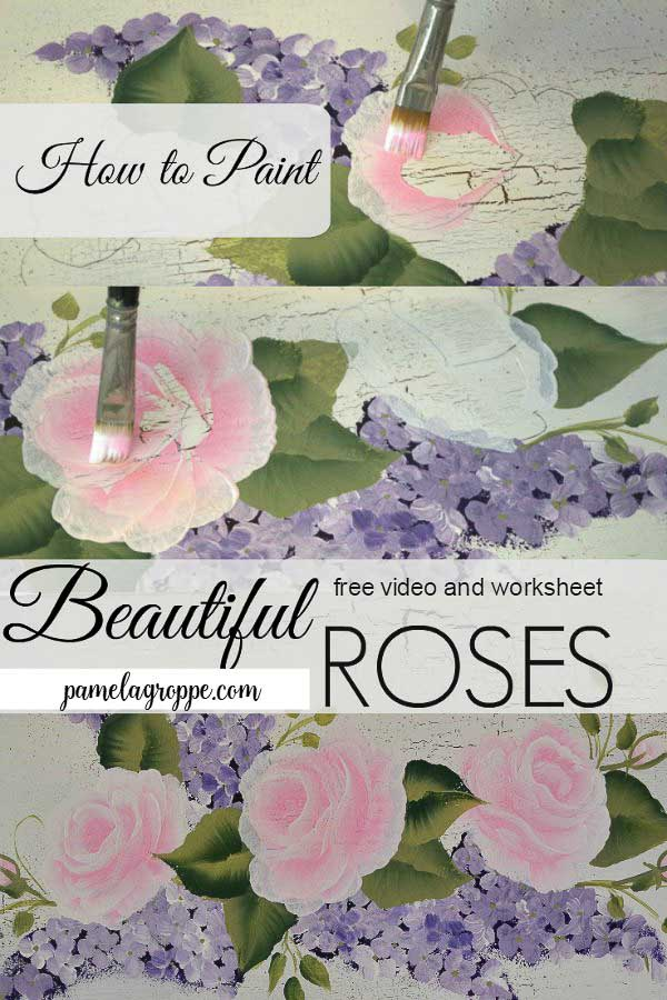 Easy How to Paint Pretty Pink roses one stroke at a time, free video and worksheet!