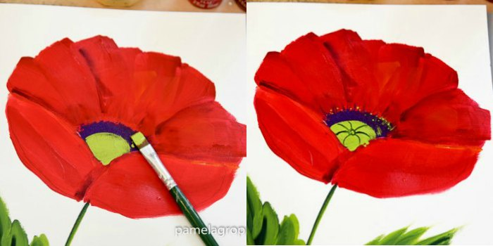 paint in green centers for large red poppy