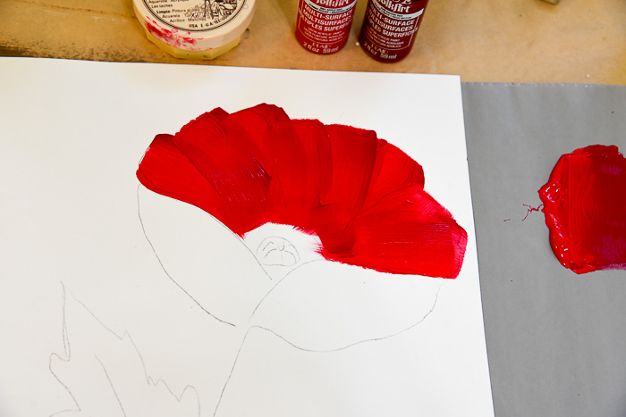 top petals on How to Paint a Large Red Poppy