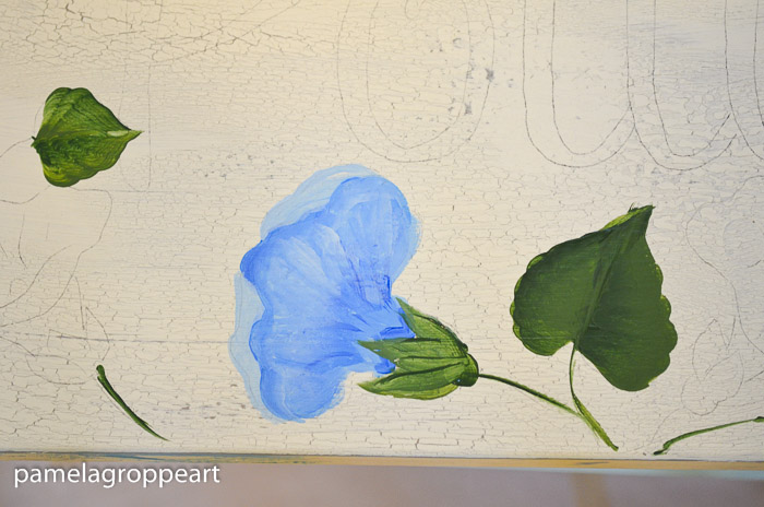Add the calyx to morning glory painting, How to paint Morning Glories