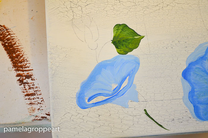 Fill in center of Morning Glory, How to paint Morning Glories