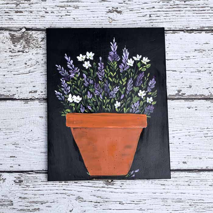 How to Paint Lavender and Daisies in a Terra Cotta Pot