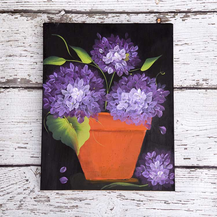 hand painted terra cotta pot with purple hydrangeas, How to Paint a Terra Cotta pot in acrylics