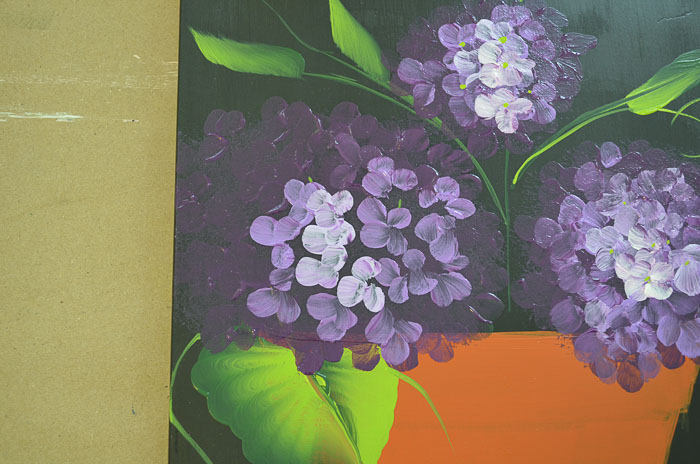 Purple hydrangeas beginning petals, lighter color, Paint Hydrangeas in a Terra Cotta Pot