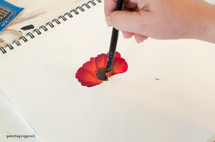 Lower petal poppy painting