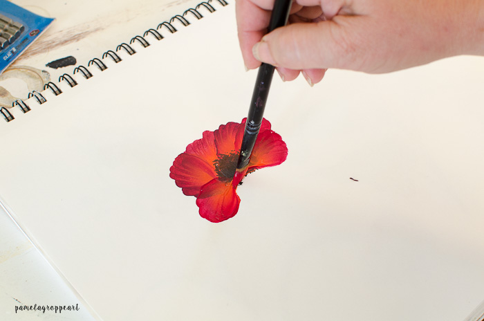 Lower petal poppy painting