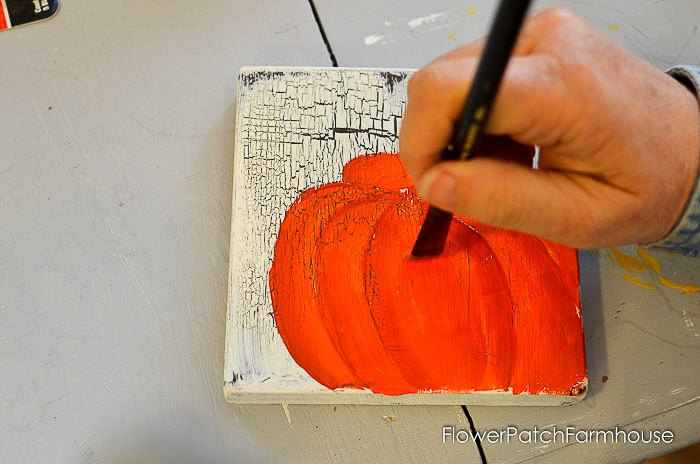 Paint center of pumpkin