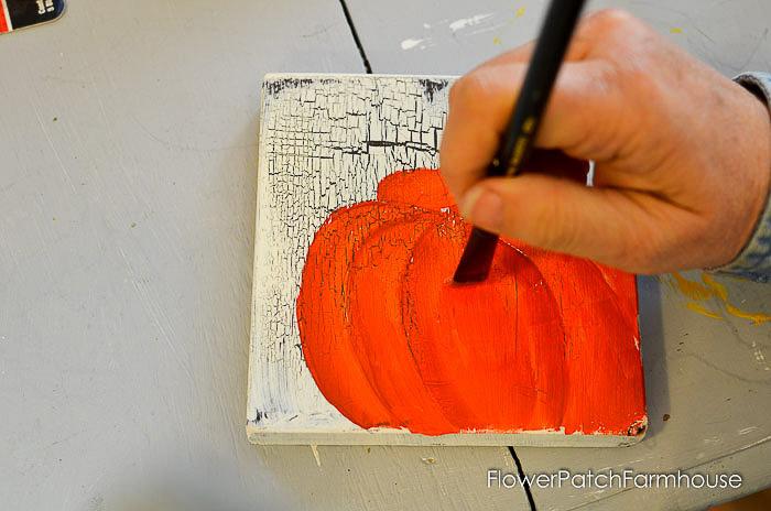 Paint center of pumpkin