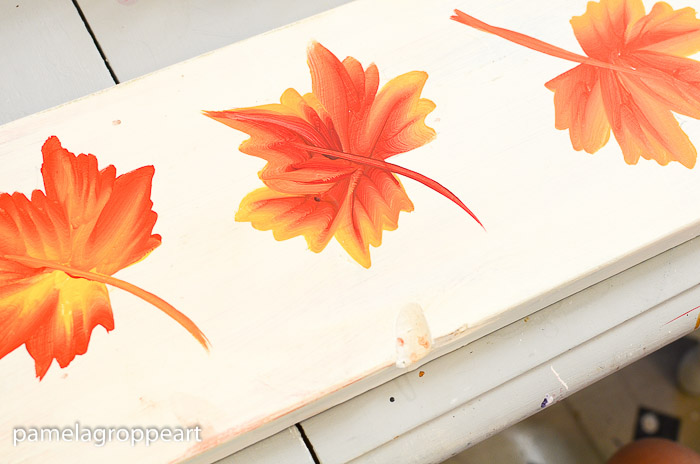 three maple leaves painted on board, How to Paint Fall Leaves